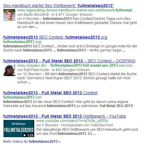 FullMetalSEO2013 die Top 5 von Tag 1