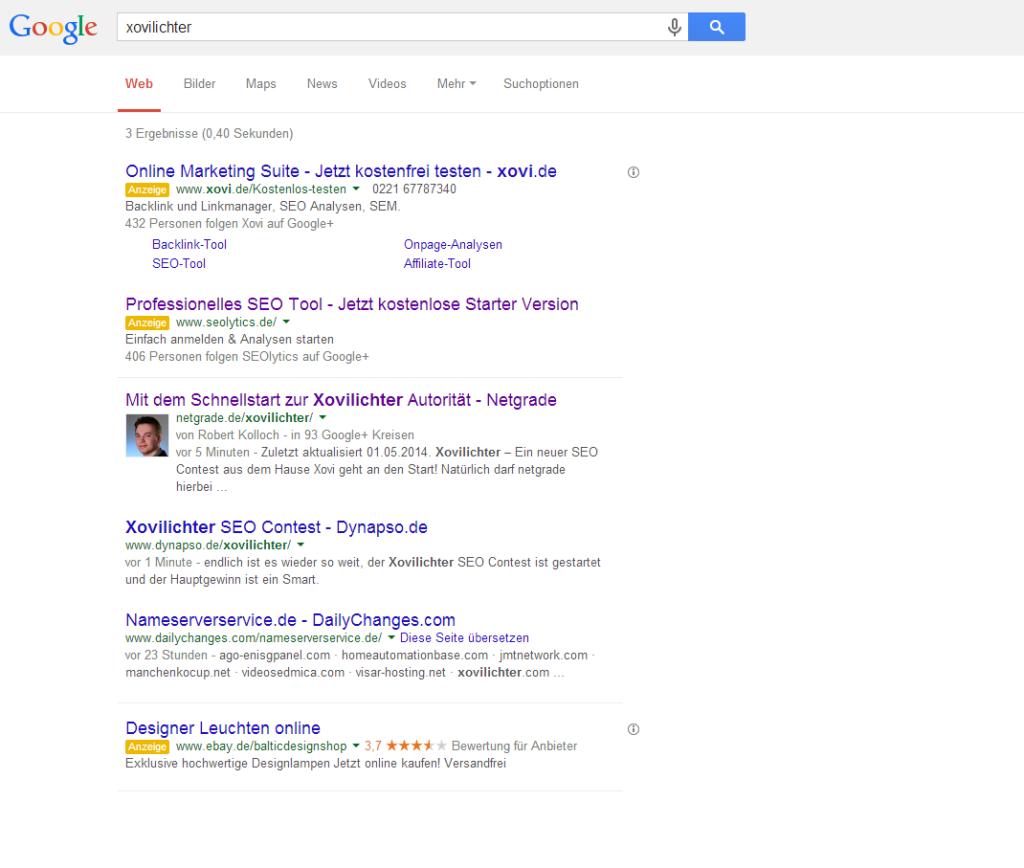 Die Suchergebnisse nach 10 Minuten