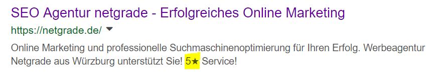 Positiv Beispiel zur Verwendung von Sonderzeichen in Meta-Decription