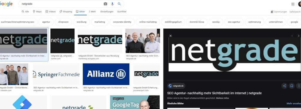 Screenshot der neuen Google Bildersuche